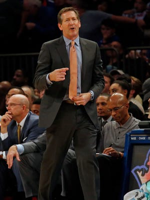 New York Knicks head coach Jeff Hornacek directs his team against the Brooklyn Nets during the second half of Saturday's game at Madison Square Garden.