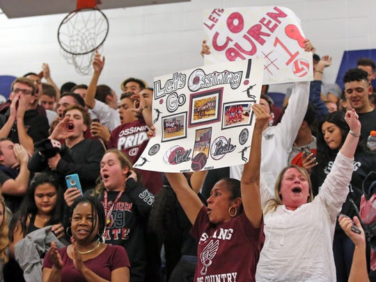 Ossining fans celebrates their win over Ursuline School