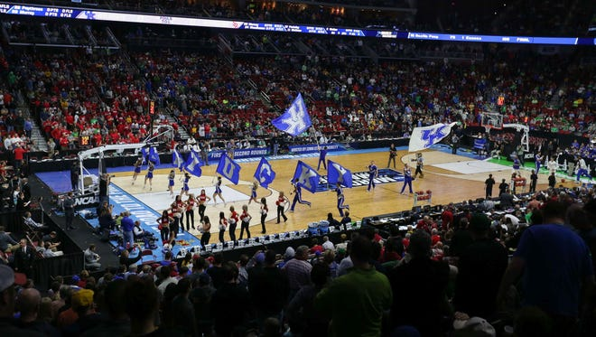 Members of the Kentucky mens basketball team are introduced prior to tipoff against Stony Brook on Thursday, March 17, 2016, at Wells Fargo Arena in Des Moines.