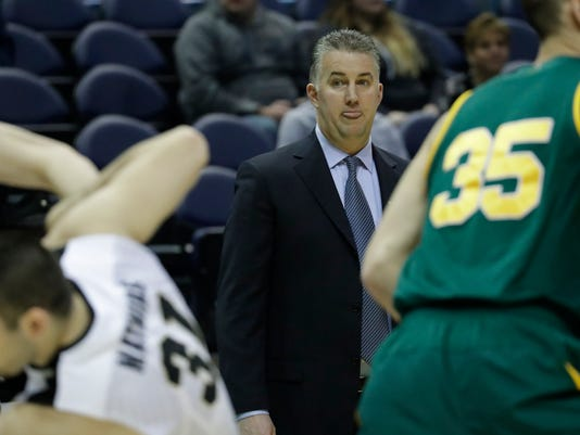 Purdue head coach Matt Painter watches during the first half of an NCAA college basketball tournament first round game against Vermont Thursday, March 16, 2017, in Milwaukee. (AP Photo/Morry Gash)