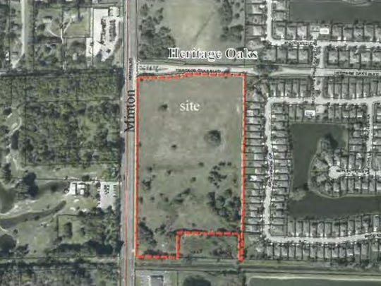This map depicts the proposed apartment site at the southeast corner of Minton Road and Heritage Oaks Boulevard.