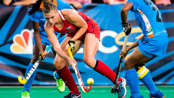Katelyn Falgowski handles the ball during the U.S. Women's Field Hockey team's 3-2 win over India in Lancaster, Pennsylvania, on July 18.