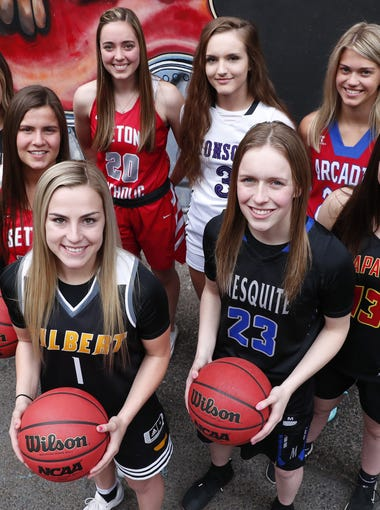 The eight nominees for Arizona High School Girls Basketball Player of the Year 2017-18. #AZCSA Seton's Sarah Barcello, Gilbert's Haley Cavinder, Valley Vista's Taylor Chavez, Mesquite's Shaylee Gonzales, Arcadia's Bryce Nixon, Seton's Sara Pfeiffer, Mesquite's Lindsey VanAllen, Chaparral's Maddie Vick.
