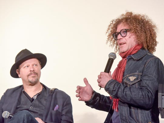 Photographer and filmmaker Danny Clinch (left) and Ben Jaffe of the Preservation Hall Jazz Band on stage at the 2016 Asbury Park Music in Film Festival at the Paramount Theatre.