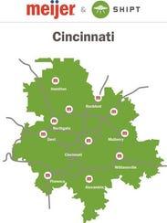 A map of Shipt delivery in Cincinnati