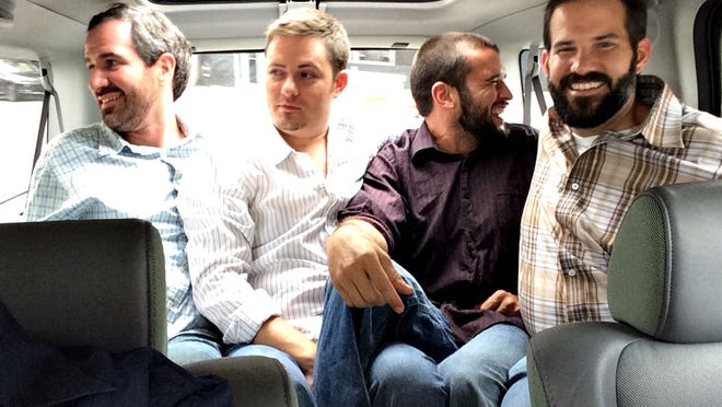 Jammed into a borrowed vehicle during a food safari to Austin are well-known Phoenix chef Kevin Binkley (from left) and colleagues from his eateries: Justin Olsen, James West and Brandon Gauthier.<252>