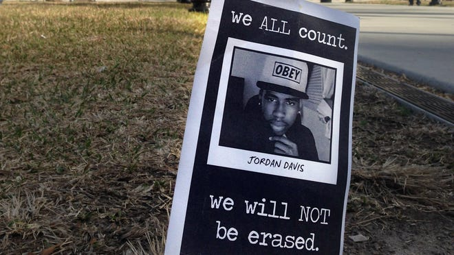 A small memorial to Jordan Davis planted outside the courthouse in Jacksonville, Fla., in February.