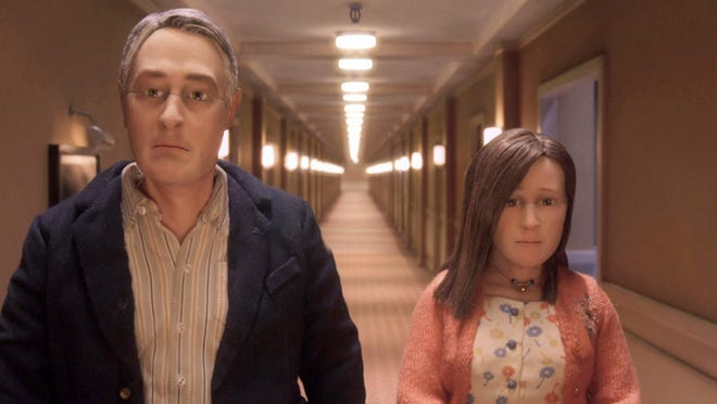 """Michael Stone, voiced by David Thewlis, left, and Lisa Hesselman, voiced by Jennifer Jason Leigh are seen in """"Anomalisa."""" The film was nominated for an Oscar for best animated picture."""