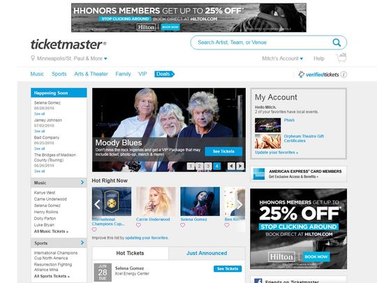 A screen shot from June 22 shows Ticketmaster.com.