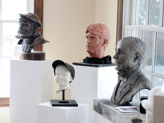 Sacksteder's work includes busts of famous people,