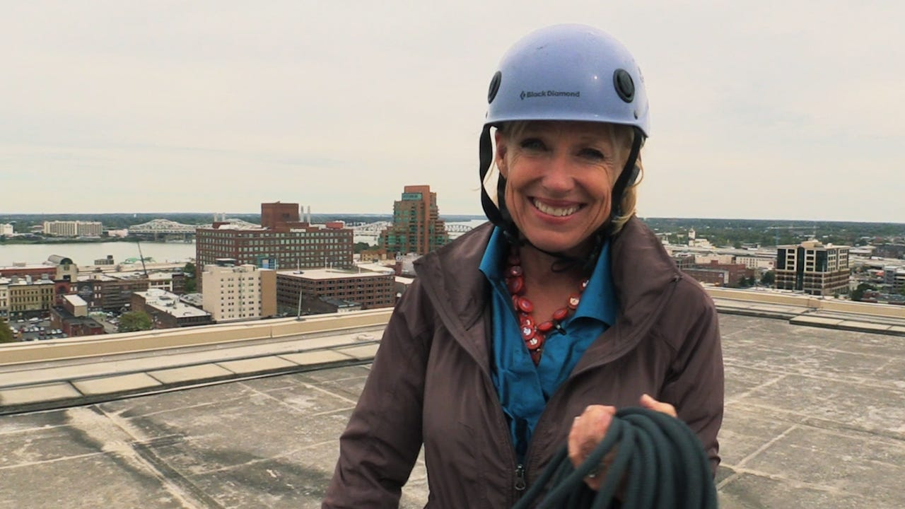 Kirby Adams and other local celebrities will be rappelling from the roof of the Louisville Downtown Marriott to benefit the Boys and Girls Clubs of Kentuckiana.
