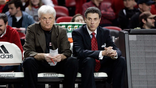 Rick Pitino (right) with associate coach Ralph Willard during a game in 2009. Willard rejoined Pitino's U of L staff after this past season.