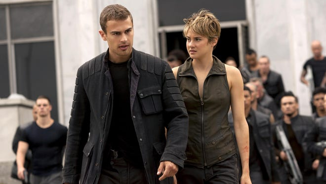 """Theo James and Shailene Woodley appear in """"The Divergent Series: Insurgent."""""""