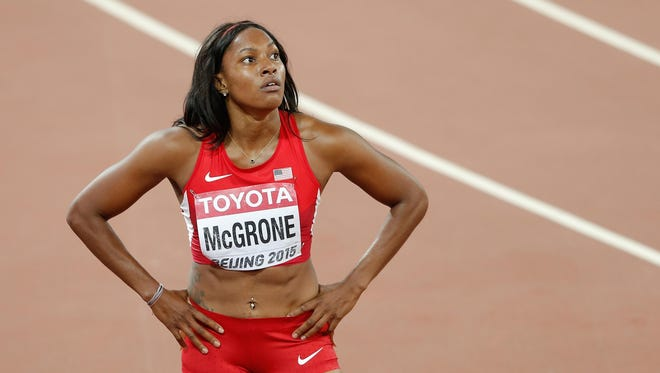Candyce McGrone reacts after competing in the Women's 200 meters semifinal at the IAAF World Athletics Championships Beijing 2015 on Aug. 27, 2015 in Beijing, China.