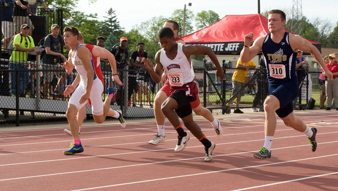 McCutcheon's Donnie Blount, second from right, captured the 100-meter regional championship Thursday at Lafayette Jeff