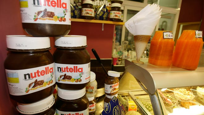 Nutella on display in a store in Rome.
