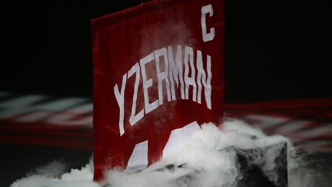 Steve Yzerman's jersey number is retired Jan. 2, 2007, at Joe Louis Arena in Detroit.
