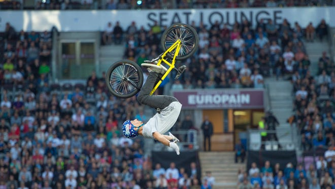 A Nitro star does an impressive trick. The action athletes roll into Rochester on Friday at Frontier Field.