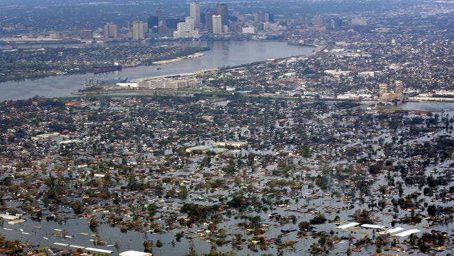 Floodwaters from Hurricane Katrina cover a portion of New Orleans on Aug. 30, 2005. Harvey's rains threaten similarly epic floods in Texas.