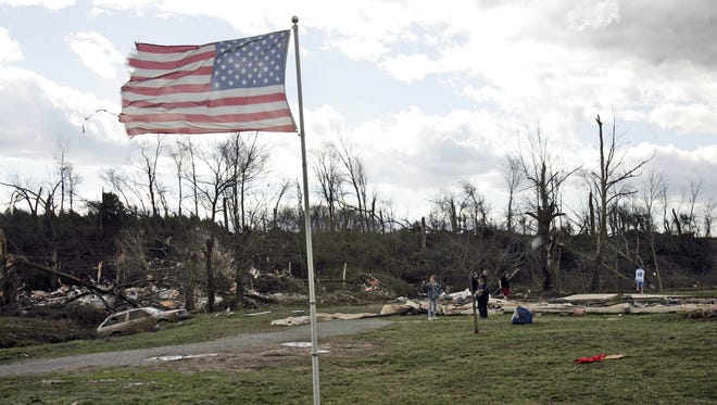 The American flag withstood the deadly tornado while houses and buildings were completely leveled on Feb. 5, 2008 in Castalian Springs.