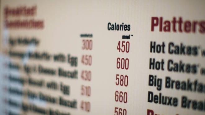 Calories on a menu