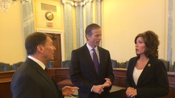 Sens. Mike Rounds and John Thune and Rep. Kristi Noem meet in the Commerce Committee room, which Thune now chairs. It's the first all-GOP delegation from South Dakota since 1962.