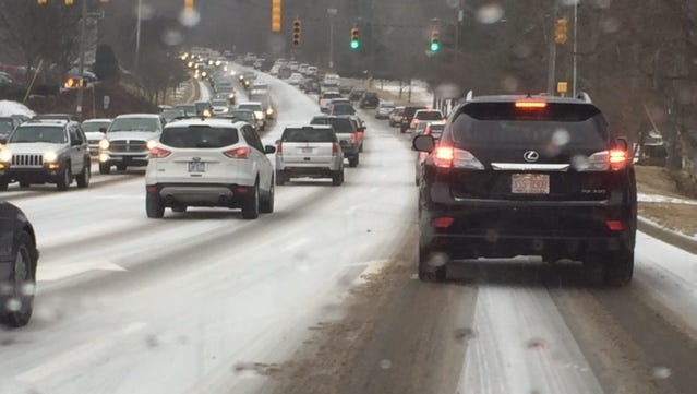 Hendersonville Road was clogged with traffic around 4 p.m. Monday