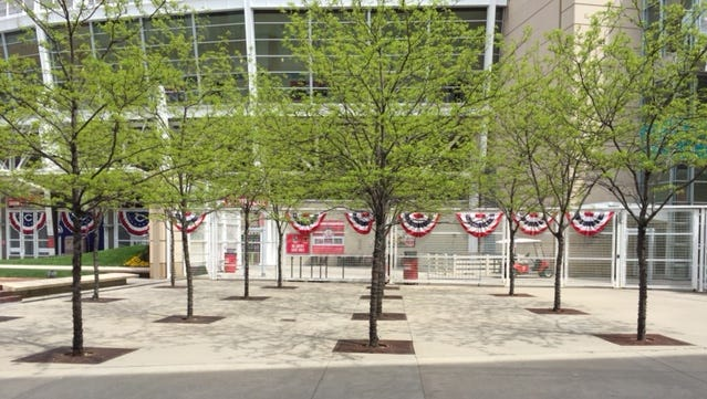 Concrete will eventually be replaced by commemorative bricks fans may purchase for one of the five respective All-Star Games the Reds have hosted over the years.