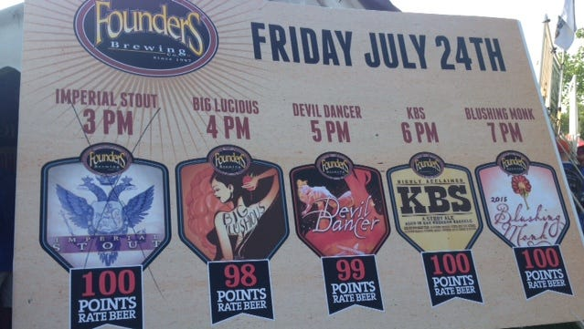 Founders offered timed releases of some specialty beers Friday.