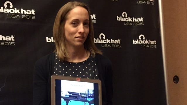 Computer security researcher Runa Sandvik, pictured here, and her husband Michael Auger were able to hack a TrackingPoint TP750 precision-guided rifle, cause it to miss its target, among other things. They presented their findings at the Black Hat computer security conference in Las Vegas on August 5, 2015.