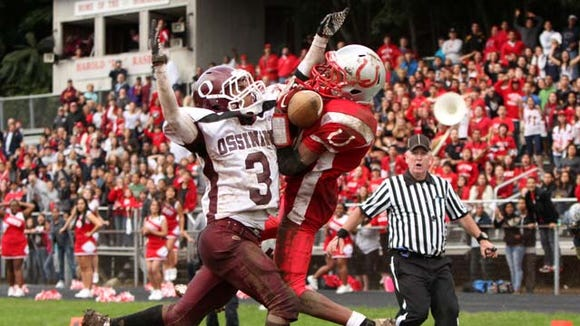 Ossining's Keon Ervin breaks up a touchdown pass to