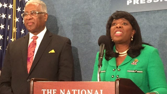 Rep. Terri Sewell, D-Ala., and Birmingham Mayor William Bell talk to reporters Tuesday at the National Press Club about a bill to create the Birmingham Civil Rights National Historical Park under the National Park Service.