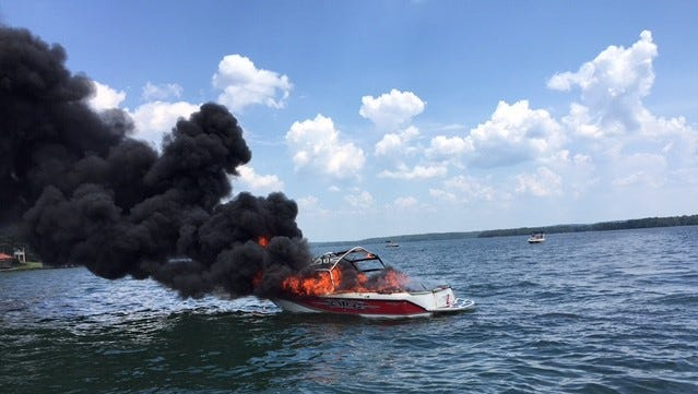 Lake Martin boat fire on July 3, 2016.