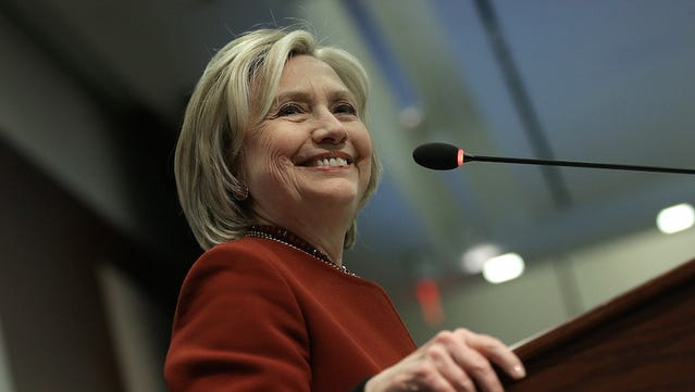 File - Former U.S. Secretary of State Hillary Clinton speaks at an award ceremony for the 2015 Toner Prize for Excellence in Political Reporting March 23, 2015 in Washington, DC.