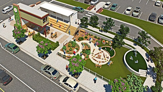 An updated rendering for the early learning garden at The Bodacious Brew Thru. Constructors should finish the garden in late January.