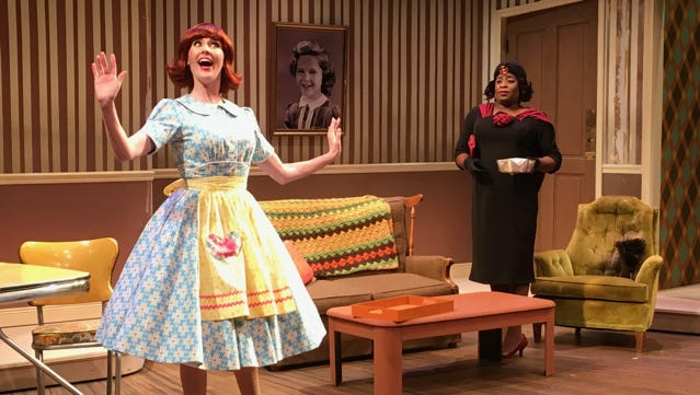 "Mary McNulty (right)  and Kenney Green (left) in New Harmony Theatre's production of ""Ruthless, the Musical!"""