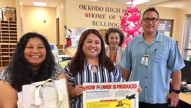 Guam Power Authority donated education and informational materials to the Okkodo Senior High School Math and Science Departments on Dec. 18. Pictured from left: Emily Meno, Assistant Principal; Sarah Lee Valencia, Assistant Principal; Begonia Flores, Principal and Christopher Anderson, Administrator – GDOE Student Support Services Division.