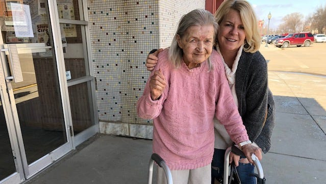 Velarie Bremer and Kim Bartling pose for a photo after celebrating Bremer's 88th birthday.