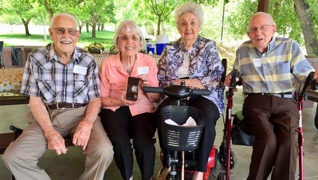 Irvin Ence (from left), Luen Atkin Flammer, Anna Nielson Tietjen, Kay Heaton attended Dixie High School's 75-year reunion on June 2, 2018.