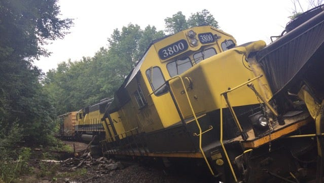 No injuries were reported after a train bound for Binghamton derailed early Thursday morningin Deposit after heavy rain washed out a bridge.