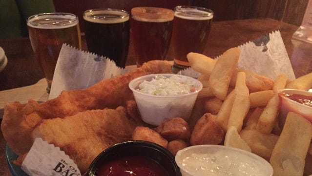 Fish and chips with a flight of beers: That's pub food.