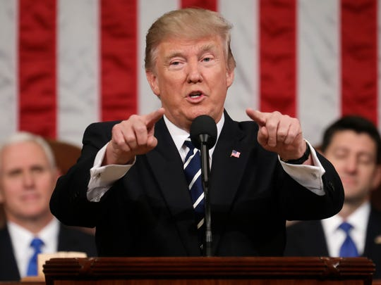 President Donald Trump addresses a joint session of Congress on Capitol Hill in Washington, D.C., on Feb. 28, 2017.