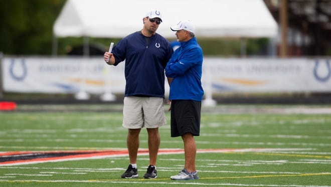 Ryan Grigson (left), the General Manager of the Indianapolis Colts, chats with Head Coach Chuck Pagano, at Colts camp, at Anderson University, Anderson, Friday, August 10, 2012. Robert Scheer/The Star