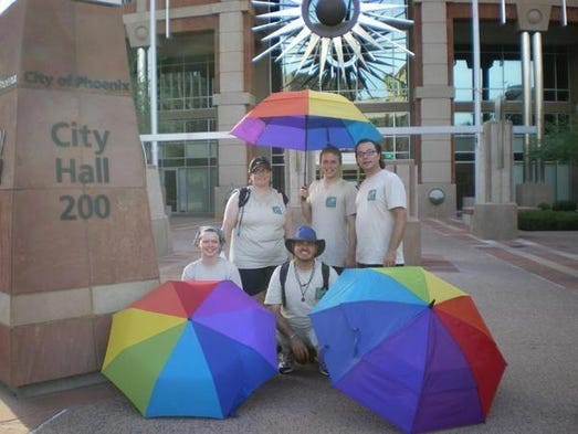 Human and Equal Rights Organizers (HERO)walkers outside Phoenix City Hall in 2008, the first year of the Equality Walk. The Phoenix-based group started the annual event shortly after Arizona passed Proposition 102 defining marriage between one man and one woman. <br />