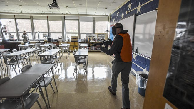 Shooter Evan Scala, vice principal of Lakeview Elementary corners trainees during a lockdown exercise at Valleyview Middle School.