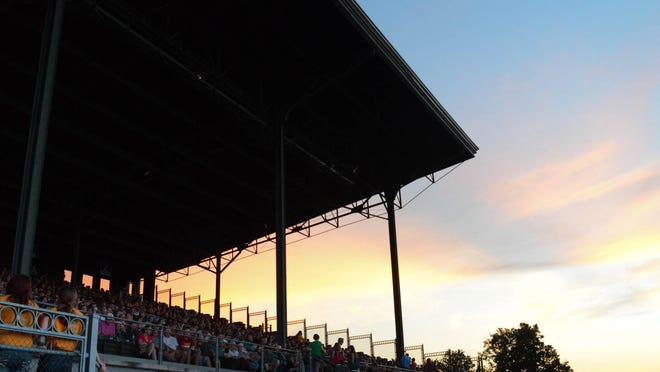 The stands fill as fans await Lady Antebellum at the Iowa State Fair Grandstand on Saturday night 8/16/14.