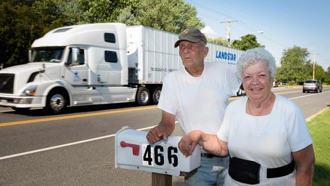 Galen and Dorothy Griffith, longtime Boyds Corner Road residents, say their home near the Mount Pleasant intersection is constantly rattled by trucks. Dorothy Griffith was once caught in the draft of a passing truck and knocked into a ditch while getting her mail from the roadside.