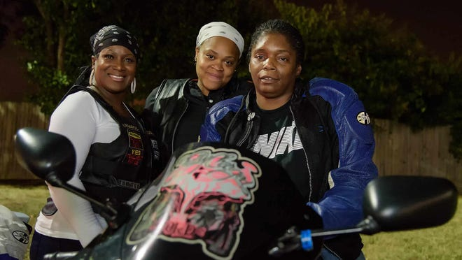 Shelly Bowe of Bear, Shantaya Morris of Wilmington, and Keesa Anderson of Wilmington. Night Peace Ride starting at the WaWa at 4000 N. Dupont Hwy in New Castle and stopping at various locations around Wilmington where there have been shootings. Keesa Anderson, founder of peace group Sweep the Streets. Sweep the Streets was established in honor of Anderson's son Jermaine Goins Jr., who was killed Sunday, August 4th, 2013 in a Wilmington shooting. DOUG CURRAN/SPECIAL TO THE NEWS JOURNAL