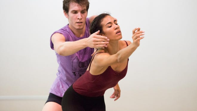 """Cincinnati Ballet dancers Ana Gallardo and Daniel Wagner rehearse choreographer Ma Cong's """"Mind on the (Re)Wind."""" The piece will be performed as part of Cincinnati Ballet's season-opening """"Kaplan New Works Series,"""" running Sept. 11-19 in the Aronoff Center's Jarson-Kaplan Theater."""