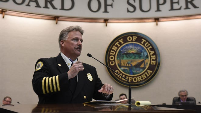 Tulare County Fire Chief Charlie Norman gets sworn in at the Board of Supervisors meeting Tuesday. Norman was named to replace former Chief Joe Garcia, who retired at the beginning of 2016. Norman worked for Visalia Fire Department before moving to the county's fire department in May 2014.